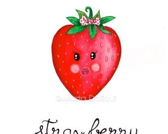 Strawberry fruit art print. Fruit nursery kids girls room art decor. Fruit watercolor painting Cute strawberry illustration Kitchen food art