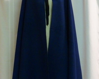 LENGTH OPTIONS!  18th century Hand-Sewn Mazerine Blue Wool Broadcloth Short or Long Ladies Cloak w/ Silk Lined Hood (OUT-SC6)