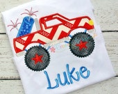 Monster Truck with Fireworks Patriotic Digital Machine Embroidery Applique Design 4 Sizes