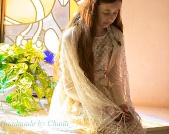 Lace Tallit, Petite Jewish Prayer Shawl, Girls Tallis, Ladies Womens Tallit for Bat Mitzvah or Wedding