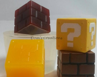 Gamer Mario brick or question mark block silicone mold