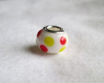 Lampwork Glass Polka Dot Bracelet Bead on 925 Silver Core
