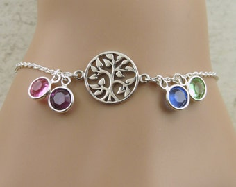 Sterling silver tree of life bracelet, Family tree bracelet, Birthstone bracelet,  mother bracelet, grandmother bracelet, aunt gift, mother