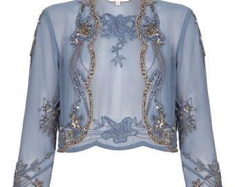 Mary Blue Grey Bolero Shrug cape Jacket Vintage 1920s inspired Flapper Great Gatsby Art Deco Hand Embellished Robe Charleston Wedding