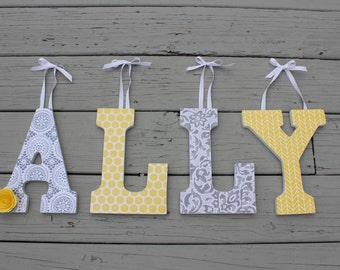 "9"" Paper covered wooden letters for nursery/bedroom ANY THEME/COLORS"