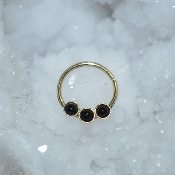 Septum Ring 2mm Onyx - Gold Septum Jewelry - Nose Ring Hoop - Cartilage Earring - Nipple Piercing - Helix Ring - Tragus Earring 18g