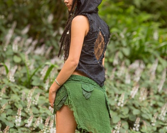 Jungle Sister Skirt (Green) - Sexy Fairy Hippie Boho Goa Festival Gypsy Bohemian Skirt with Pocket Unique Design