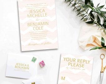 Delicate Chevron Custom Wedding Invitations Sample