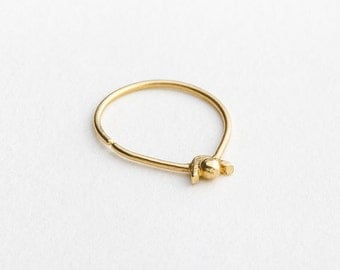 Nose Ring, Delicate Nose Ring, Dainty Nose Ring, Solid Gold Nose Ring, Yellow Gold Nose Ring, Nostril Ring, Gold Nostril Ring