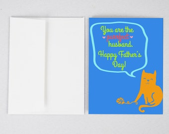 Cat Husband Father's Day Card, Husband Father's Day Card, Father's Day Card, Greeting Card, Father's Day, Gifts for Dad, Father's Day Print