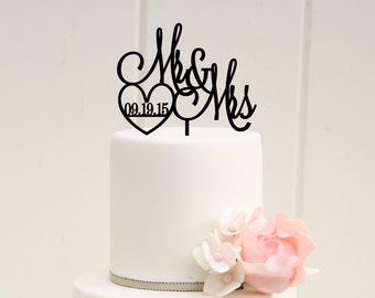 Wedding Cake Topper - Mr and Mrs Cake Topper - Cake Topper with Wedding Date