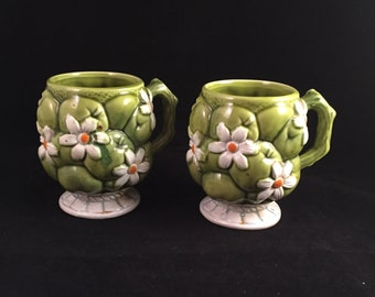 Vintage Inarco 1967 Green Apple Mugs Set of 2