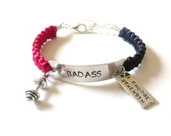 BADASS Weightlifting Barbell I Choose Strength Charm Bracelet Fitness You Choose Your Cord Color