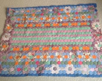 Vintage handmade patchwork blanket