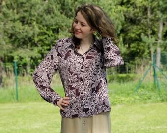Vintage Women White Purple Blouse Long Sleeve Button Up Flowers Paisley Print Secretary Shirt Medium Size