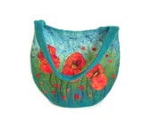 Felted bag felt bag floral felt handbag wool bag petrol green orange red flower flowers spring bag boho OOAK