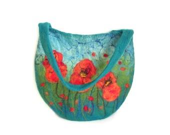 Felted bag felt bag floral felt handbag wool bag petrol green orange red flower flowers spring bag boho OOAK