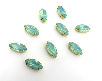 10 Pieces 7x15mm Opal Green Navette Sew On Rhinestones|Glass Stones|Metal Claw Clasp|4 Hole Gold Setting|Bead Jewelry Supplies Decoration