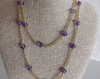 Vintage Amethyst And 1/20 12K Gold Filled Chain Necklace