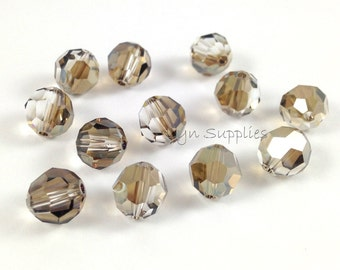 12pcs BRONZE SHADE 8mm Swarovski Crystal 5000 Faceted Round Beads Special Effects