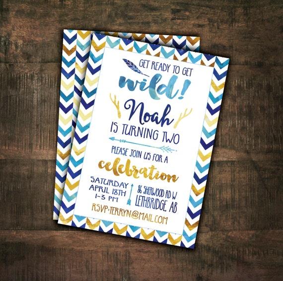 Birthday Part Invitations, Printable Invitation, Boys Birthday Party, Tribal Birthday, Arrows, Gold, Watercolor, Sizes 4x6 and 5x7 #4