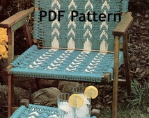 Vintage 1980s Macramé Chair and Footstool Hippie Pattern River Ripples Digital Download