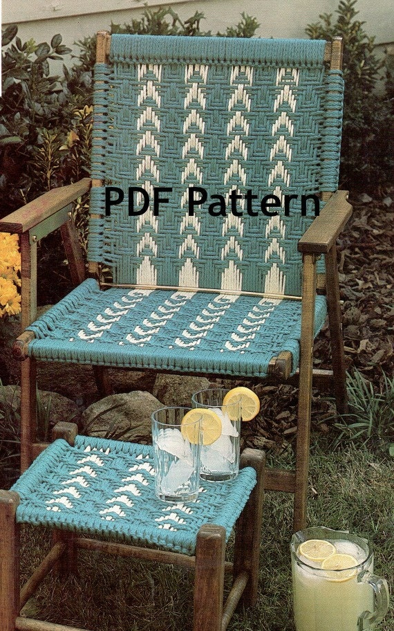 macrame lawn chair patterns hippie macram 233 chair and footstool vintage 1980 s 1648
