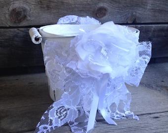 Flower Girl Basket Shabby Chic Flower Girl Basket Rustic Flower Girl Basket Flower Girl Accessory Wedding Basket Shabby Chic Wedding Decor