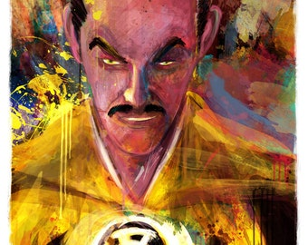 "Sinestro Yellow Lantern Abstract Art Canvas, sizes 16"" x 24"" and 20"" x 30"""