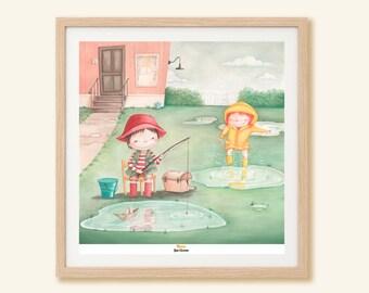 Children's Art Print - Poster illustration with children playing in puddles, kid's illustration, wall art, gift for children
