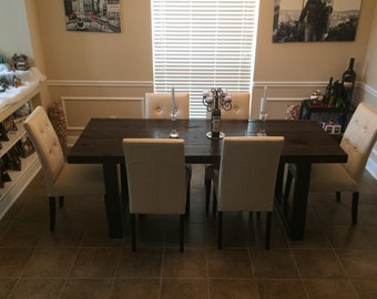 Modern Reclaimed Kitchen Table, Steel Legs