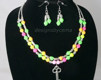 Necklace and earrings in NEON