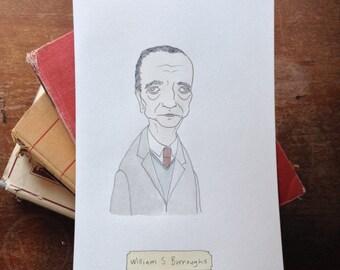 SPRING SALE // William S. Burroughs - Original Illustrated Literary Portrait