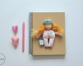 Pink princess doll witn blue crown, small soft doll, human figure toy, Princess Jane