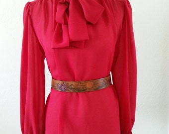 Large Red 80s Librarian Spring Blouse