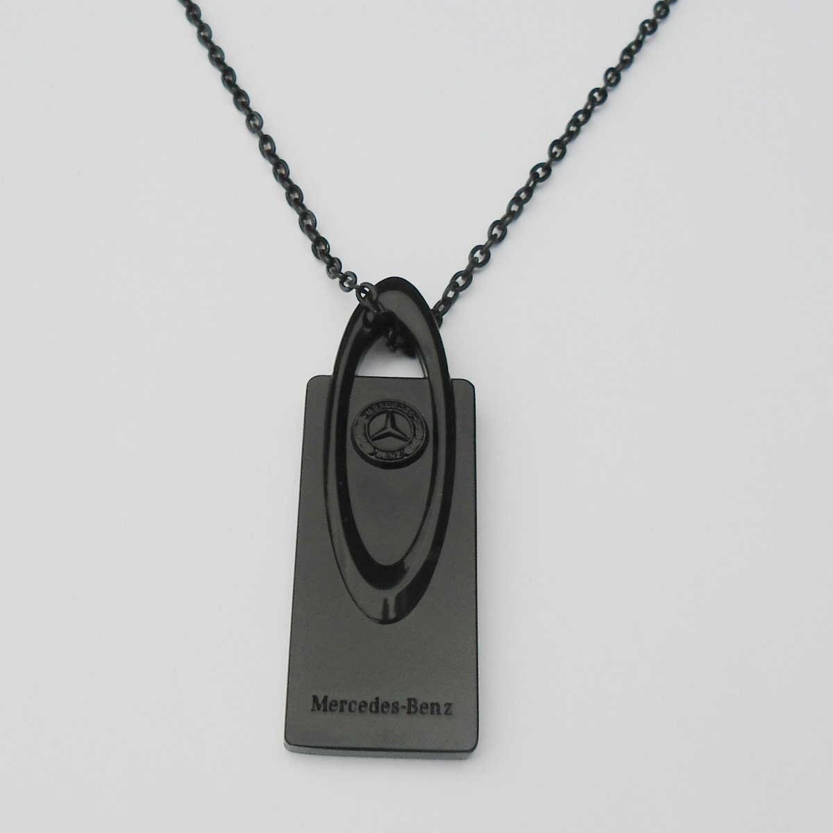 Mercedes benz black or gold pendant mirror dangler necklace for Mercedes benz pendant