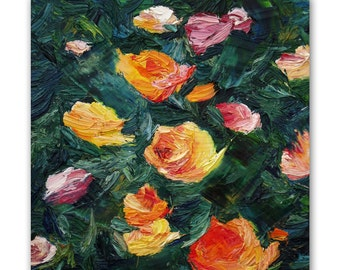 Original floral oil painting, textured palette knife painting of roses, contemporary art and home decor by Aminovart