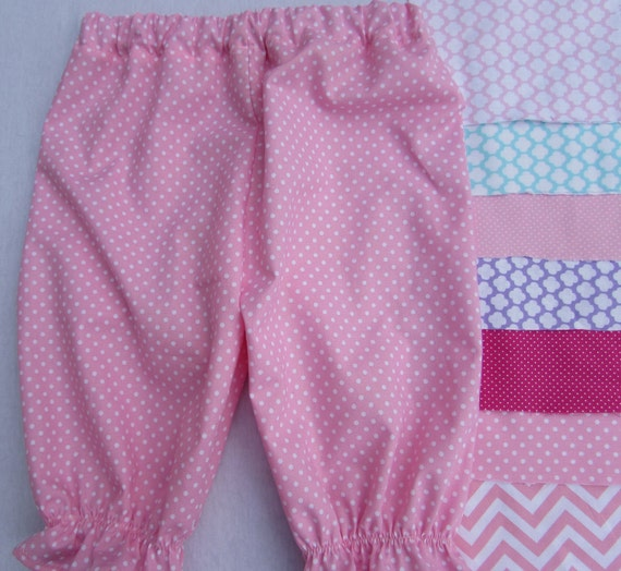 Girls bloomers in 7 different prints and sizes newborn to 5 T