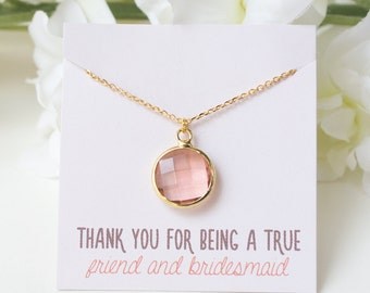 Personalized Bridesmaid Gift Peach Necklace Peach Bridesmaid Necklace Peach Wedding Bridesmaid Necklace Wedding Jewelry N260GPE