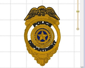 Police Department Deputy Sheriff Police Officer Cop Badge Shield Highway Patrol Badge ~ Full Embroidery Design ~ 4x4 and 4x6 Sizes