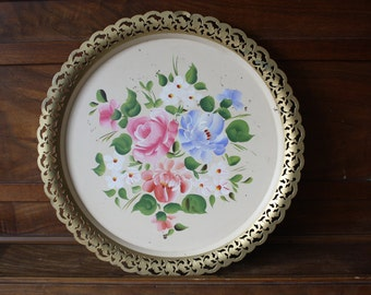 Nashco Tole Tray Yellow Floral Roses Shabby Cottage Decor