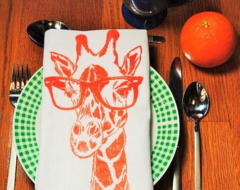 Cotton Napkins - Screen Printed Recycled Cotton Cloth Napkins -  Orange Giraffe Cloth Dinner Napkins- Washable and Reusable Eco Friendly