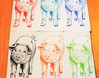 Cloth Table Napkins - Screen Printed Cotton Napkins Set of Six - Multi Color Pig Design