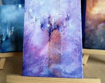 Spirited - mini original abstract painting with easel, Abstract Skyscape, Pink Skies