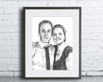 A3 Custom Pencil Sketch of 2 people - Head and Shoulders