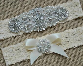 Wedding Garter Bow Ivory Crystal Garter Set Bridal Garter Set Vintage Wedding Lace Garter  Crystal Rhinestone Garter and Toss Garter Set