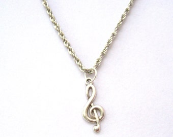 Treble Clef Necklace, Music Necklace, Music Note Necklace, Music Gift, Treble Clef Jewelry, Musicians, Music Note Jewelry, Music Jewelry