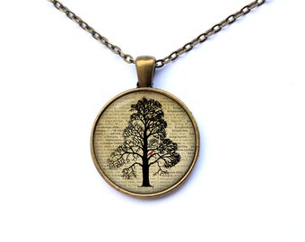 Tree necklace Art pendant Cute jewelry CWAO35-1