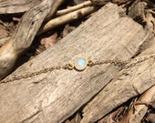 Moonstone Round Gold Vermeil Bezel Anklet on a 14K Gold Filled Chain - 8 to 11 inches
