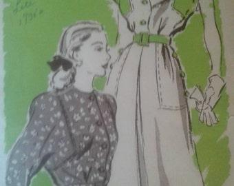 Vintage 1930's Marion Martin Dress Pattern #9014 Size 16